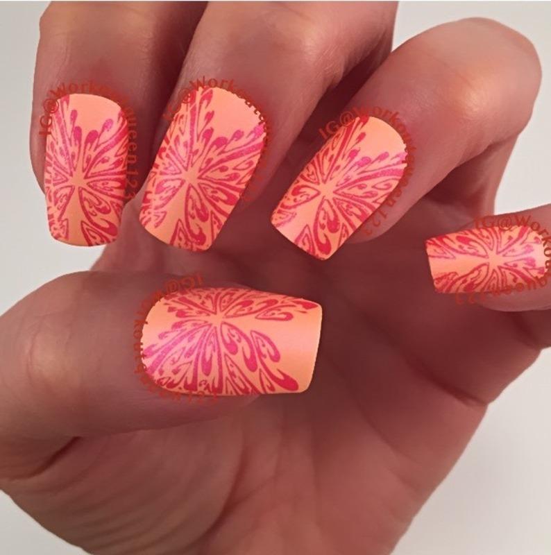 Orange mani nail art by Workoutqueen123