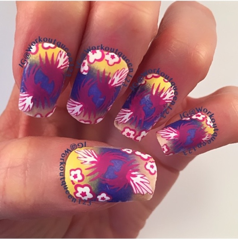 Hawaiian mani nail art by Workoutqueen123