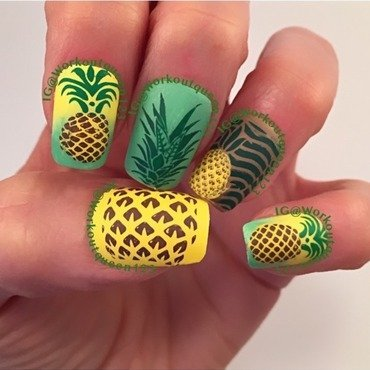 Pineapple Mani nail art by Workoutqueen123