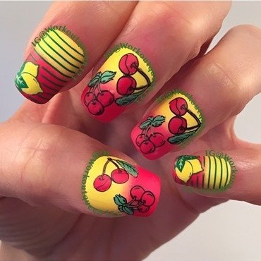 Cherrys and Lemons mani nail art by Workoutqueen123