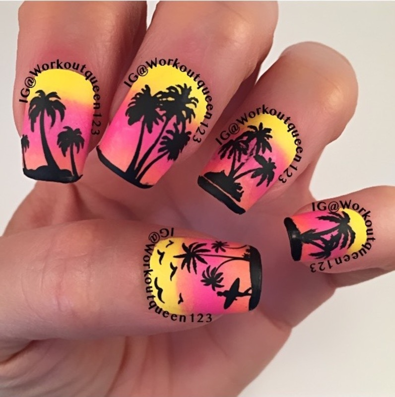 Palm Trees mani nail art by Workoutqueen123