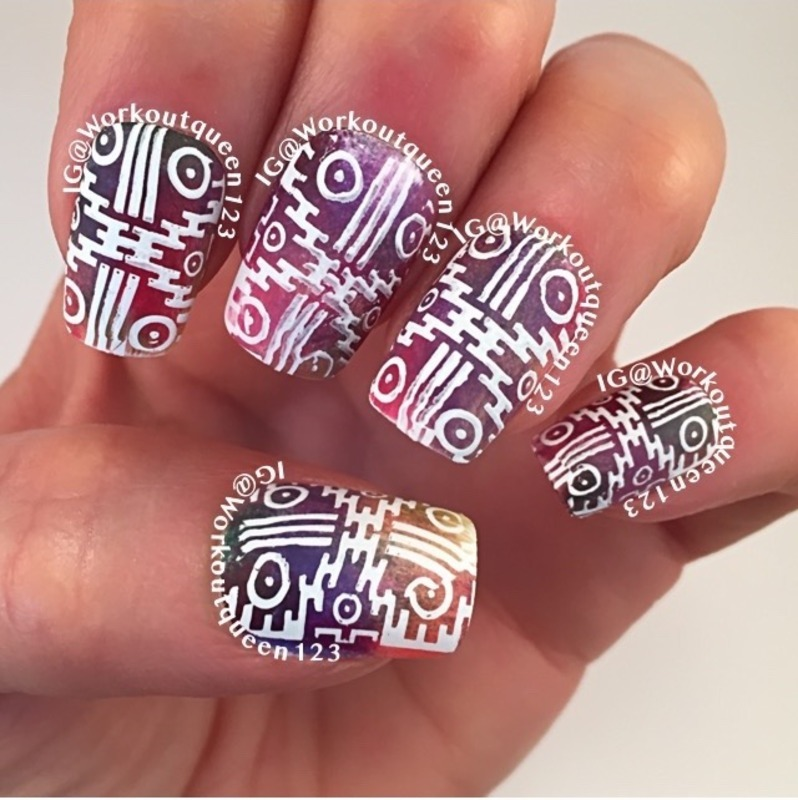 Aztec Mani nail art by Workoutqueen123