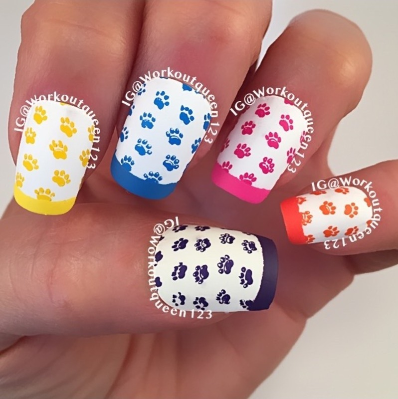 French Mani with paws nail art by Workoutqueen123