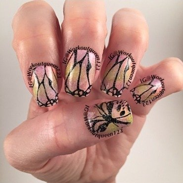 Butterfly nail art by Workoutqueen123