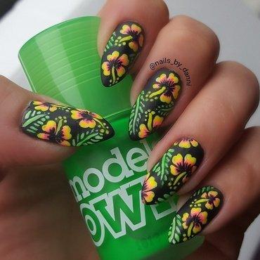 neon hibiscus nail art by Danielle  Hails