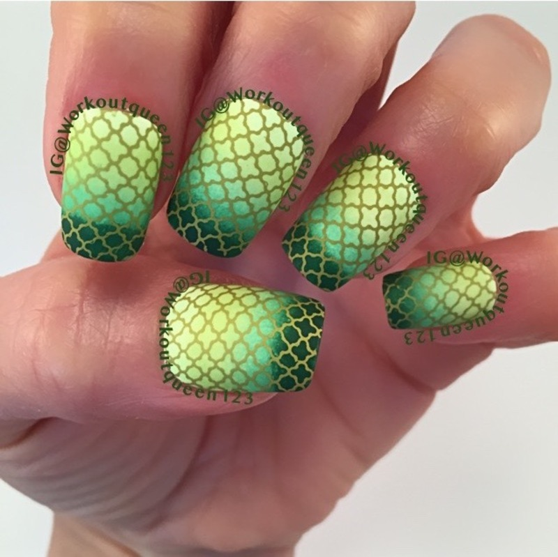 Green Gradient Mani nail art by Workoutqueen123