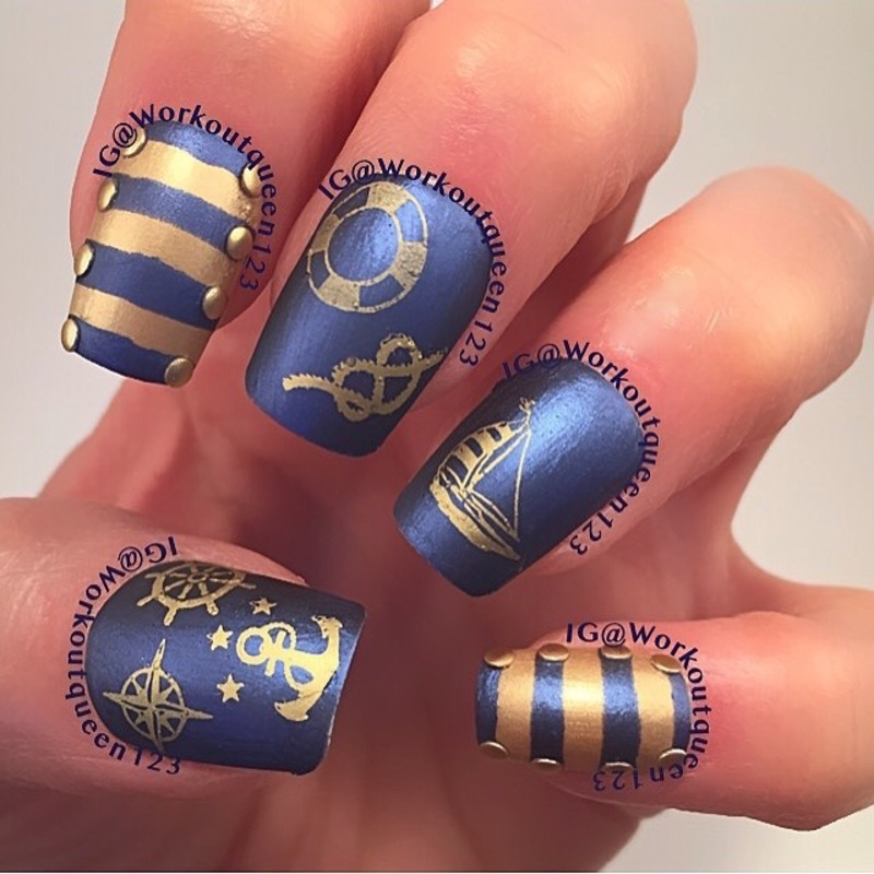 Nautical Mani nail art by Workoutqueen123