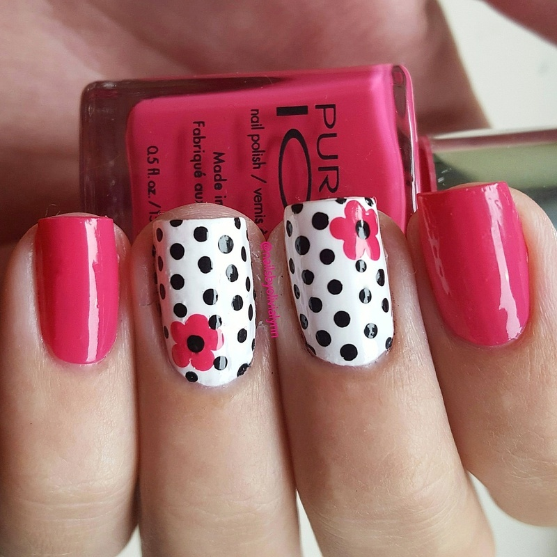 ●Flowers and Polkadots● nail art by Olivia D.