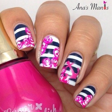 Floral nautical nail art by anas_manis