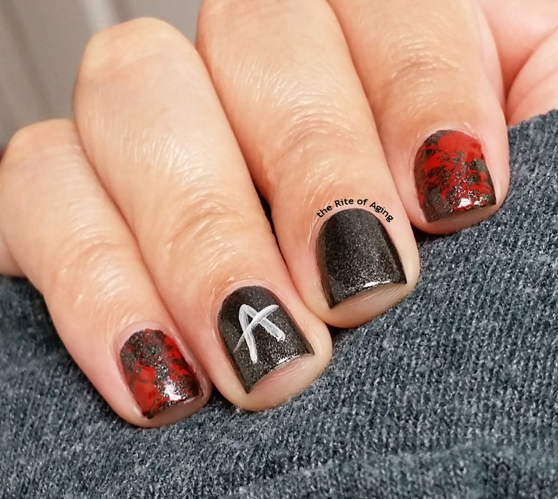 Red Coat Tuesday - Pretty Little Liars Finale Nail Art nail art by Monica