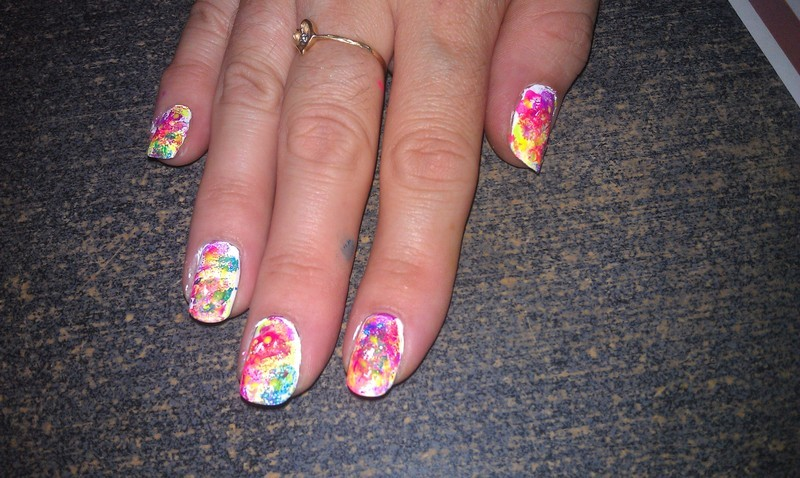 Neon Splatter nail art by Cecilia Brown