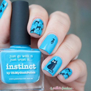 hunting cat nail art by nathalie lapaillettefrondeuse