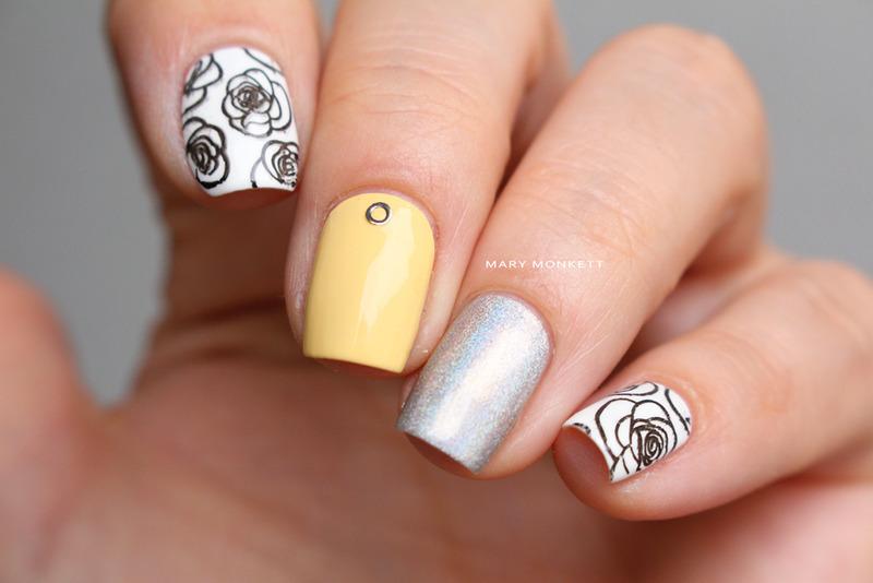 Black white yellow nail art by Mary Monkett