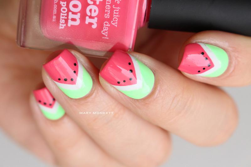 Watermelon nail art by Mary Monkett
