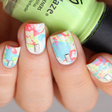 Neon splatter nail art by Mary Monkett