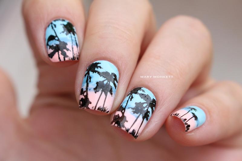 Palmiers nail art by Mary Monkett