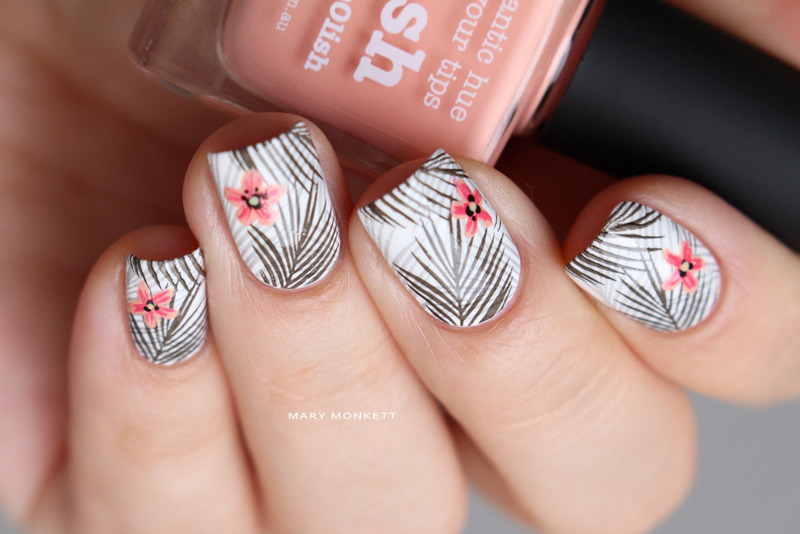 Tropical black and white nail art by Mary Monkett