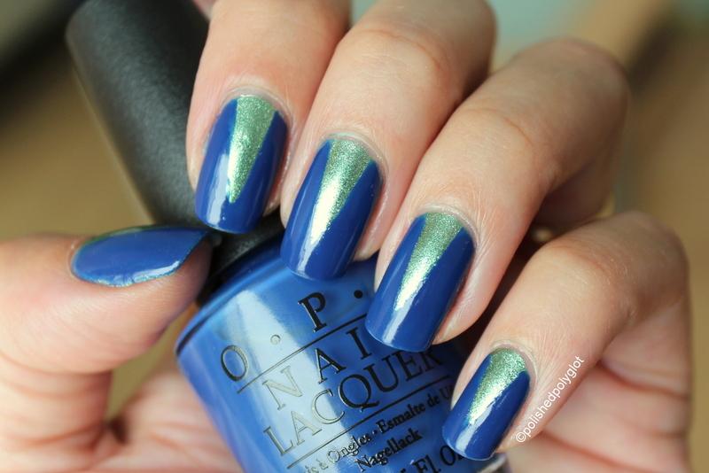 Blue and green V shape nail art by Polished Polyglot