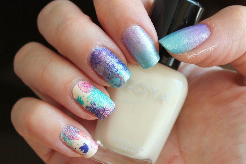 Floral Decals Over Neutral And Blue Purple Shimmer Gradient Nail Art