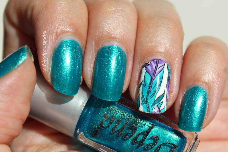 Teal and feathers nail art by Polished Polyglot