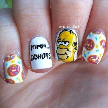 Homer Simpson nail art by eva_nailart