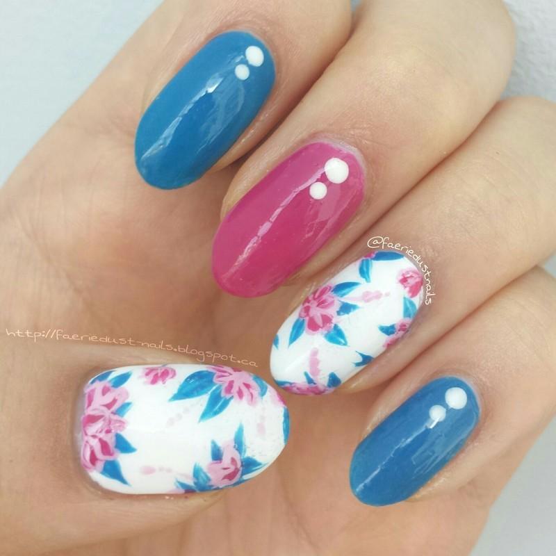 Navy and Magenta Floral Nails nail art by Shirley X.