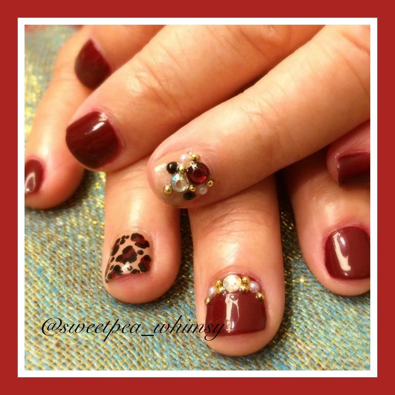 Leopard & Wine nail art by SweetPea_Whimsy