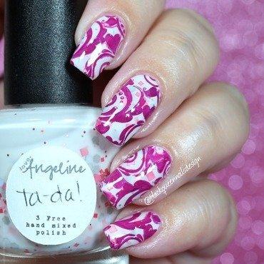 Rose stamp  nail art by Blackqueennailsdesign