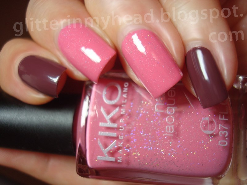 Holo in pink & dirty plum nail art by The Wonderful Pinkness
