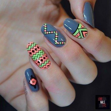 Ethnic & Neon nail art by Love Nails Etc