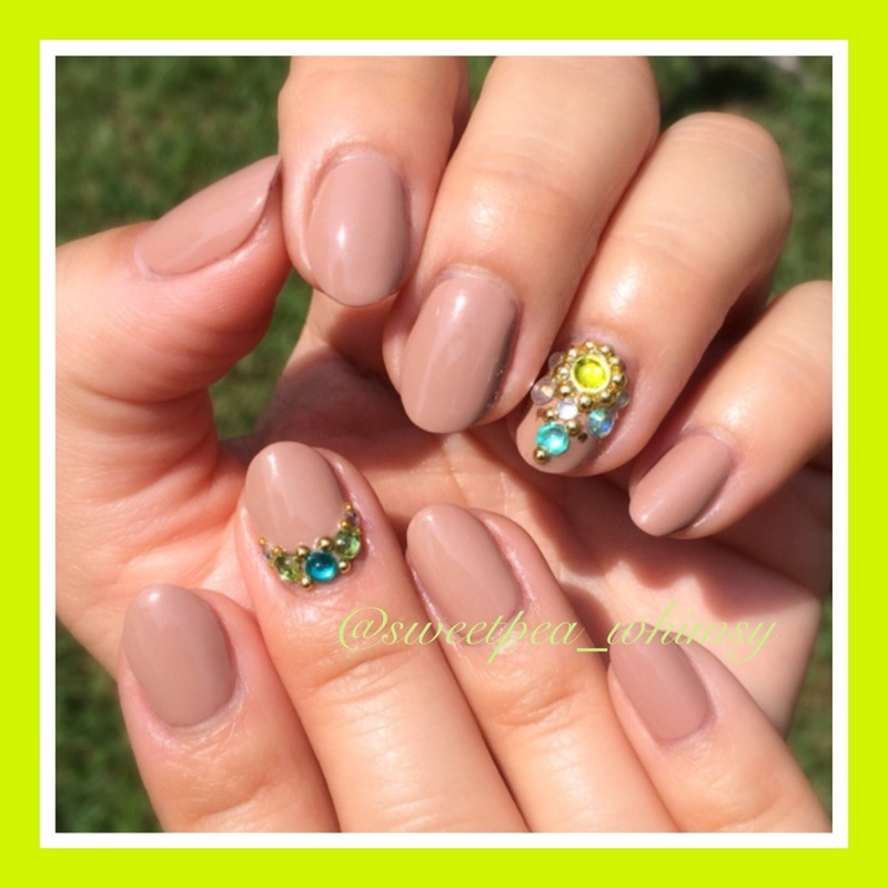 Nude Nails with Gems nail art by SweetPea_Whimsy