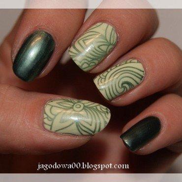 Zielone maziaje nail art by Jadwiga