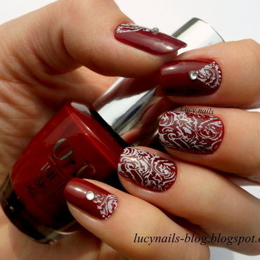 Maroon variation nail art by Lucynails26