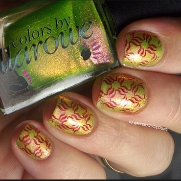 Holiday Road + stamping nail art by Mycrazydesigns