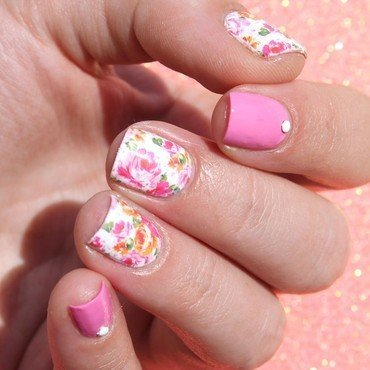 Floral water decals nail art by Cocosnailss