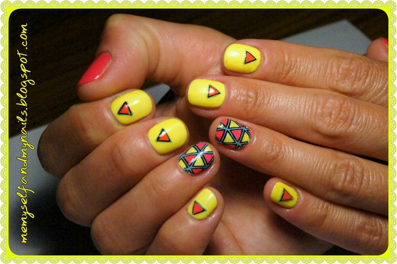 Geometrical Neons nail art by ELIZA OK-W