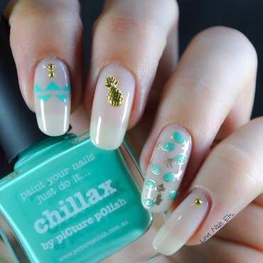 Mint & Gold pineapple nail art by Love Nails Etc