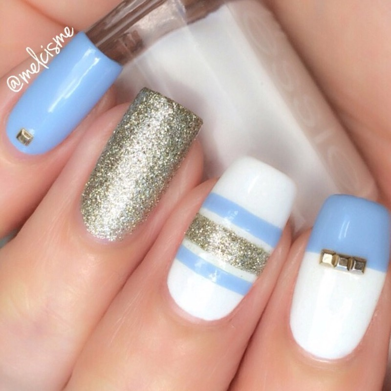 Simple stripes nail art by Melissa