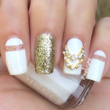 White & Gold nail art by Melissa