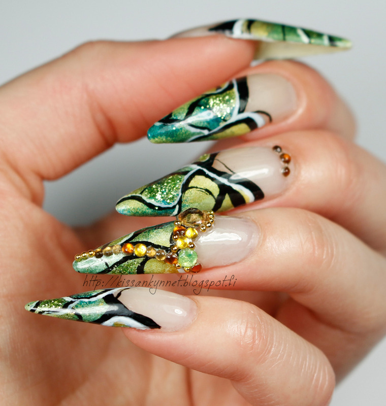 Forest Faerie nail art by Yue