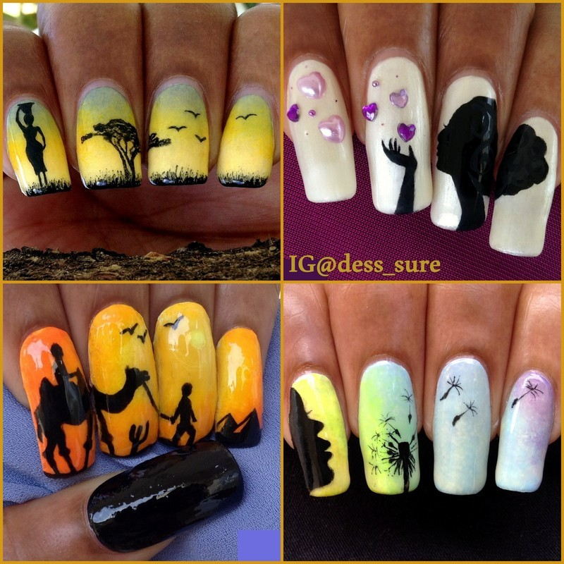 Silhouettes nail art by Dess_sure