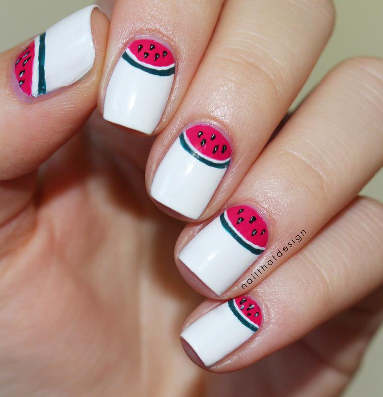Watermelon half moon nail art by NailThatDesign