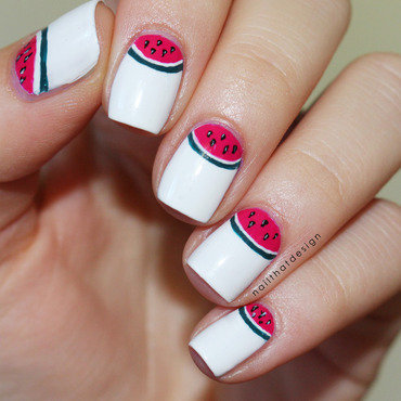 Watermelon half moon nail art by NailThatDesign