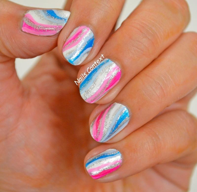 PInk and Blue Waves nail art by NailsContext