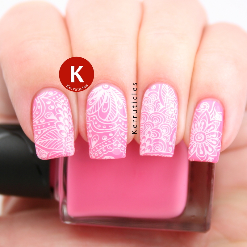 Pink with white floral stamping nail art by Claire Kerr