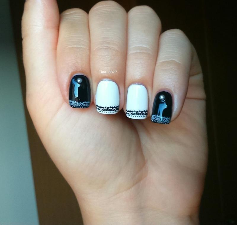 Black & White Manicure nail art by Tina_8877
