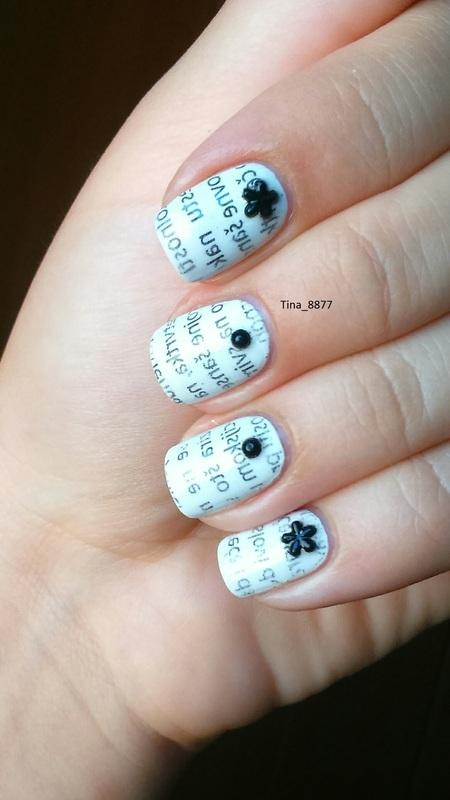 Black & White Newspaper Manicure nail art by Tina_8877