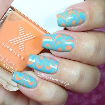 Watermarble fans  nail art by Blackqueennailsdesign