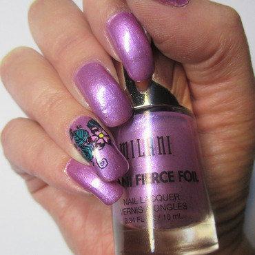 Purple Foil Nails nail art by NinaB