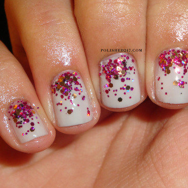 Glitter gradient nail art by Jessica